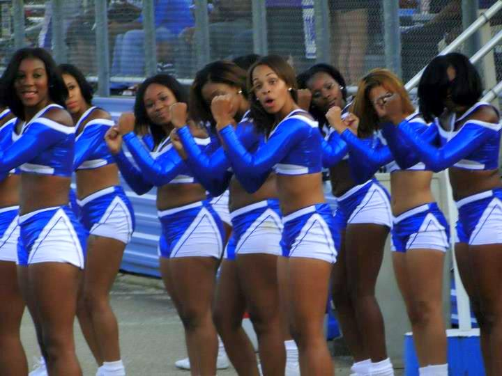 "Elizabeth City State University D'LYTE cheerleaders ""Let's go Vikings"""
