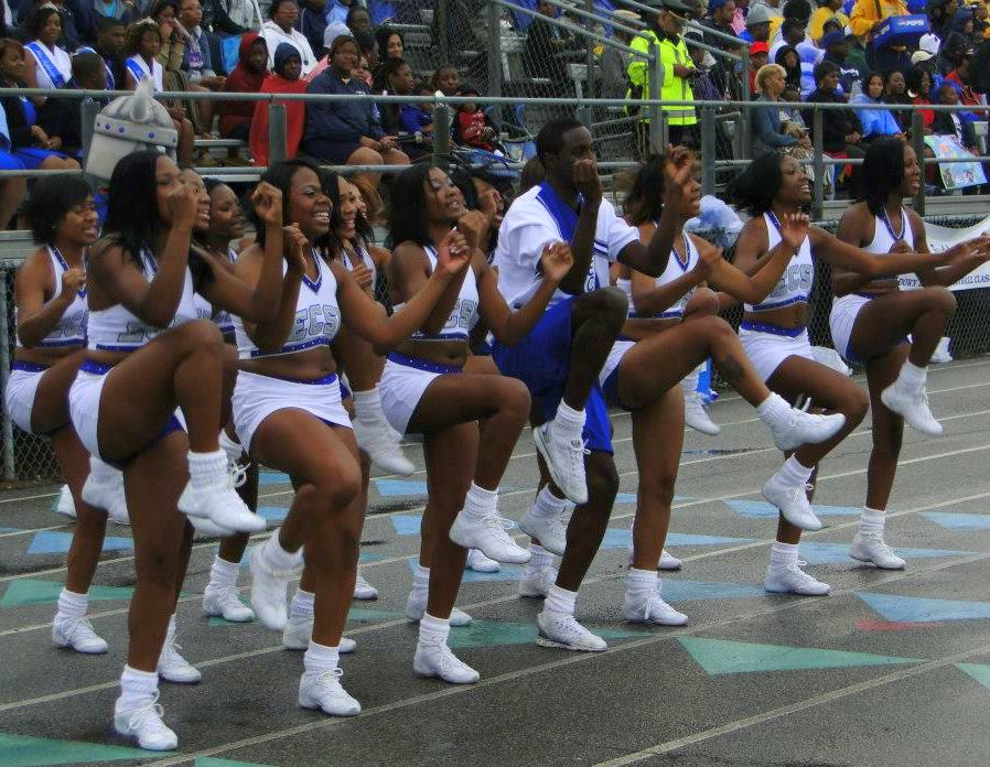 Elizabeth City State University D'LYTE cheerleaders at the 15th Annual Down East Viking Football Cla