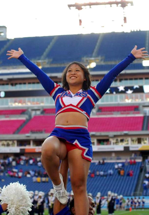 Tennessee State University Cheerleader pumping up the fans