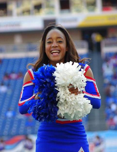 Tennessee State University Cheerleader at homecoming