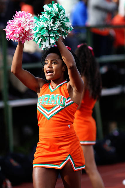 Florida A&M University cheerleaders root on the Rattlers