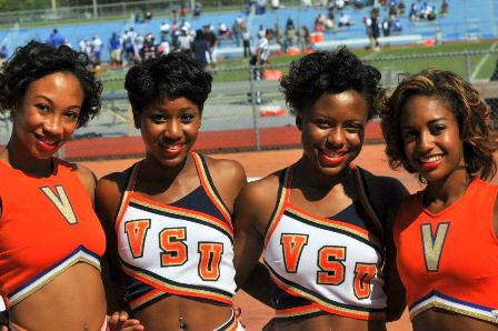 Virginia State cheerleaders take time out for a photo