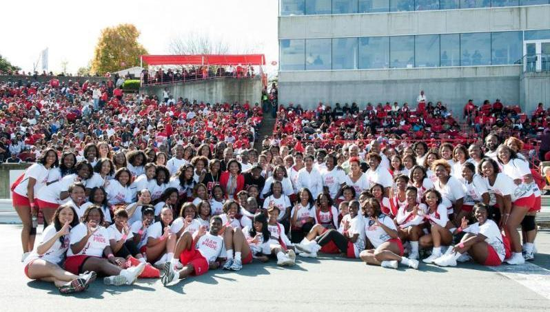 Winston-Salem State alumni cheerleaders enjoying Homecoming