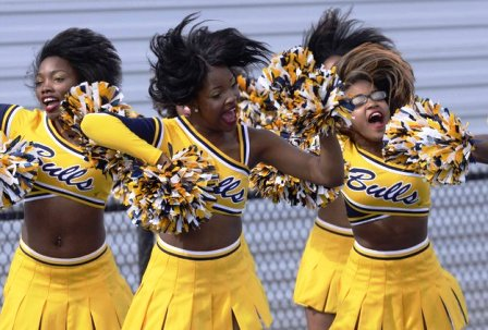 "Johnson C. Smith ""Luv-a-Bull"" cheerleaders at homecoming"