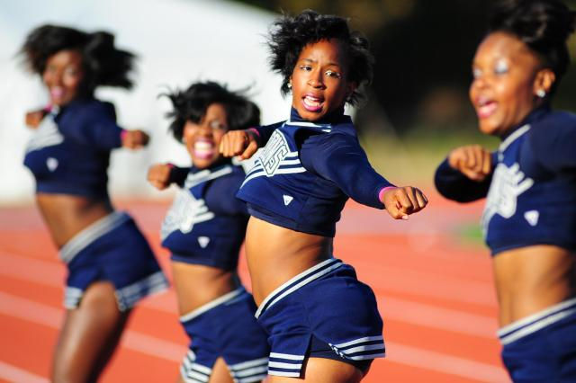 Saint Augustine's University Falcons cheerleaders working it out
