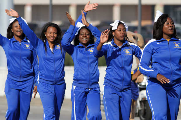 Albany State University Rams cheerleaders at the Fountain City Classic