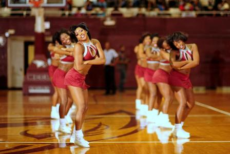 North Carolina Central cheerleaders perform during a timeout