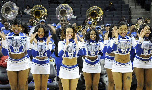 Elizabeth City State University's cheerleaders perform as their school takes on St. Augustine's at 2