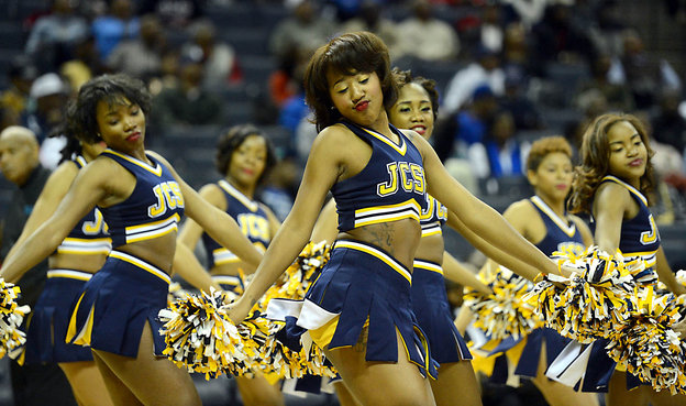Johnson C. Smith University Luv-a-Bull Cheerleaders at 2013 CIAA Tournament