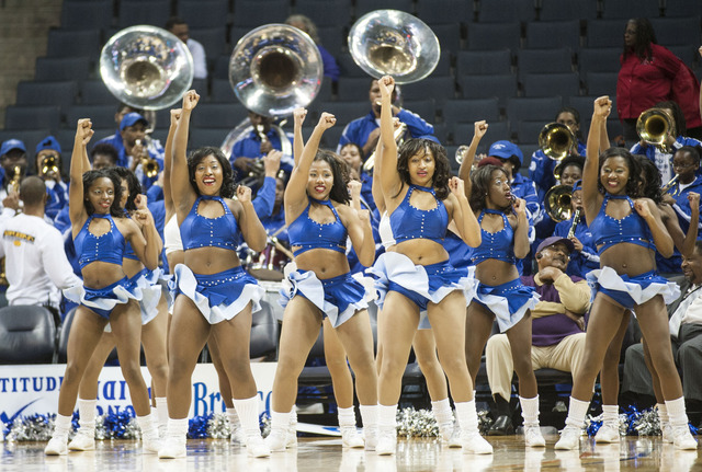 "Fayetteville State University cheerleaders ""Let's Go BRONCOS"""