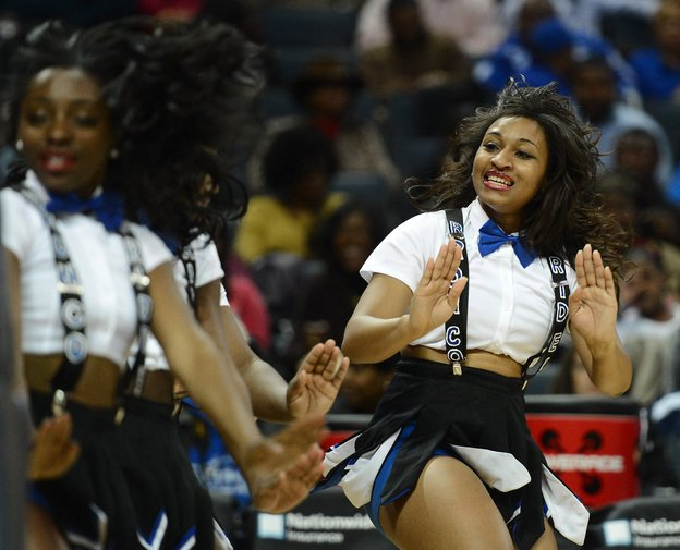 Fayetteville State University cheerleaders perform during a timeout