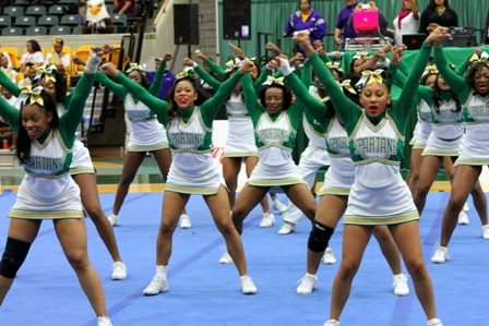 Norfolk State cheerleaders competes at the 2013 MEAC Cheerleading Championship