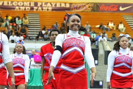 Delaware State cheerleaders perform at 2013 MEAC Cheerleading Championship