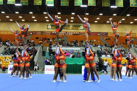 Savannah State cheerleaders competes at 2013 MEAC Cheerleading Championship