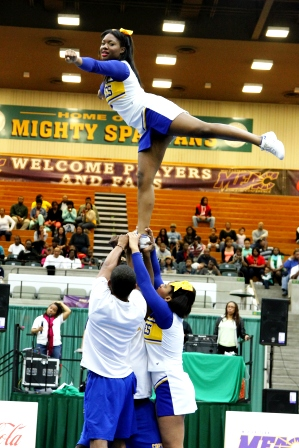 Coppin State University cheerleaders competes at 2013 MEAC Cheerleading Championship