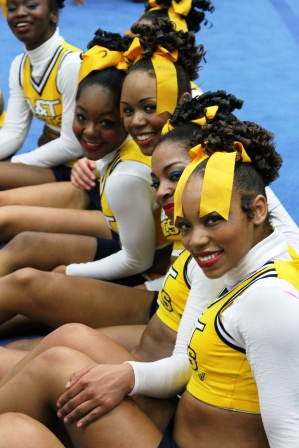 North Carolina A&T cheerleaders at the 2013 MEAC Cheerleading Championship