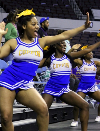 Coppin State University cheerleaders pump it up