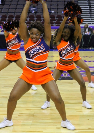Morgan State University cheerleaders perform durning a timeout