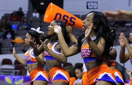 """Savannah State University cheerleaders """"Let's Go TIGERS"""""""