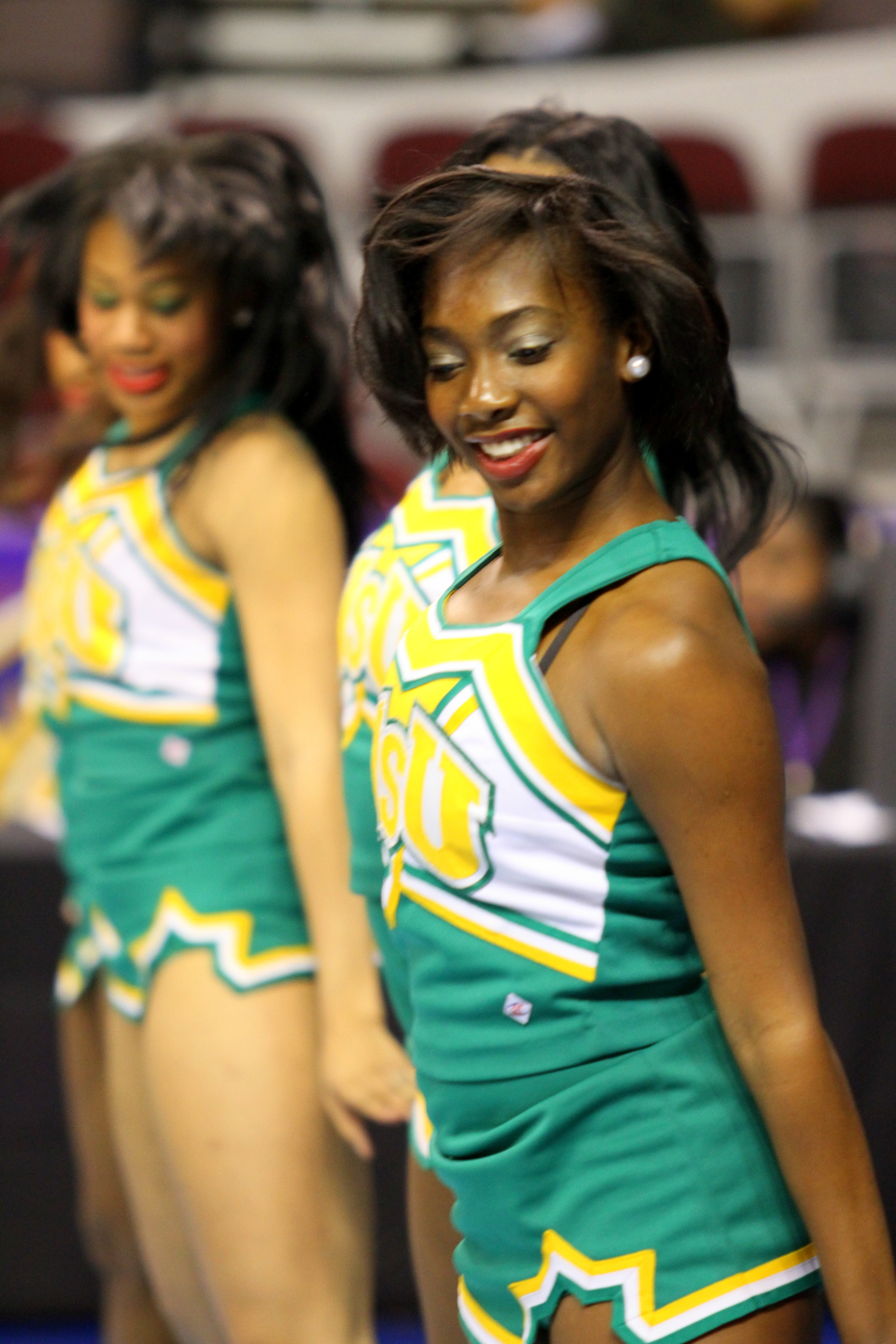Norfolk State cheerleaders cheer the Lady Spartans on at the 2013 MEAC Basketball Tournament