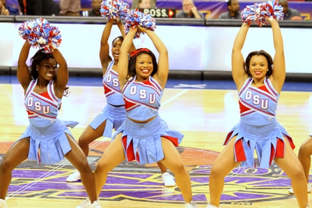 Delaware State cheerleaders perform during a time out.
