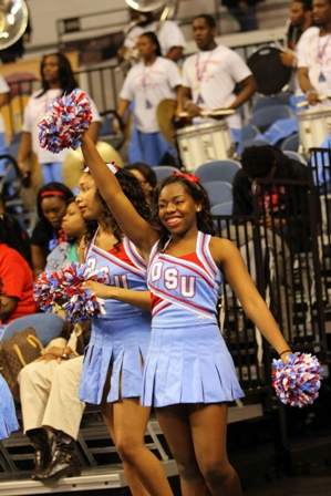 Delaware State University getting ready cheer at the Men's and Women's 2013 MEAC Basketball Tourname