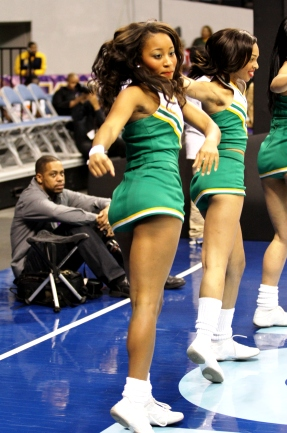 Norfolk State University cheerleaders moving to the Spartan beat