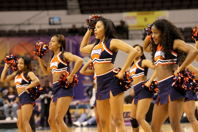 Morgan State University cheerleaders perform during a time out