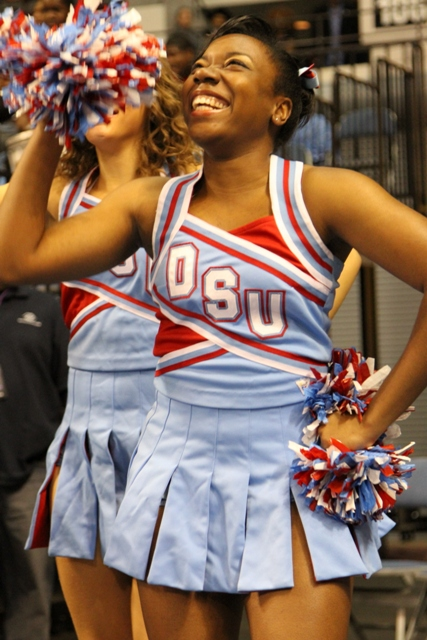 Delaware State University cheerleader is all smiles