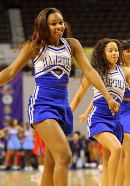 Hampton University cheerleaders at the 2013 MEAC Basketball Tournament