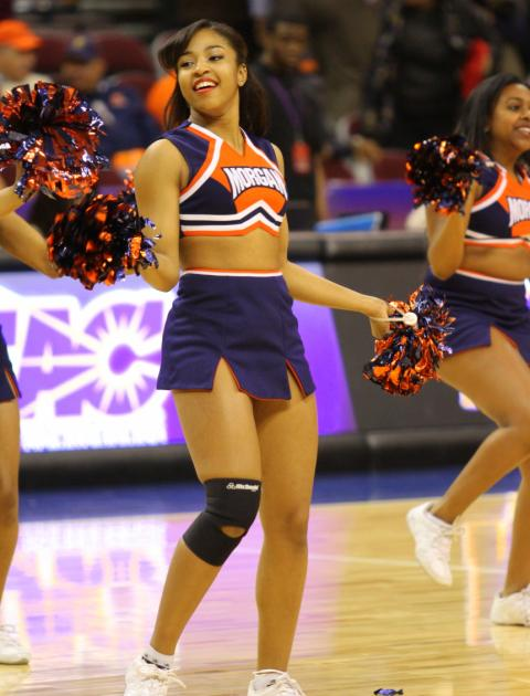 Morgan Stat University cheerleaders work the floor