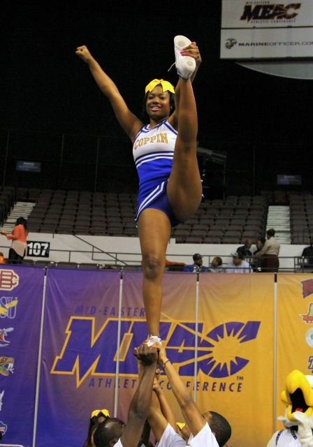Coppin State University cheerleaders at the 2013 MEAC Basketball Tournament
