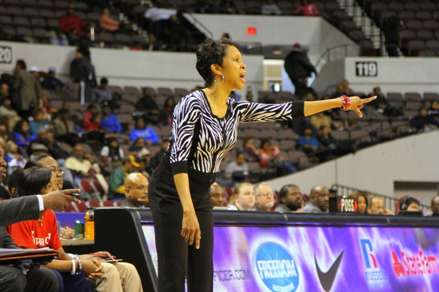 Howard University head coach directs her team fro...