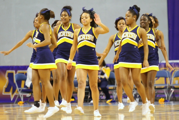 North Carolina A&T cheerleaders get ready to take the floor