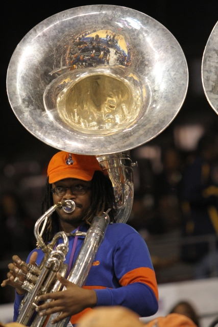 Morgan State University pep band tuba player