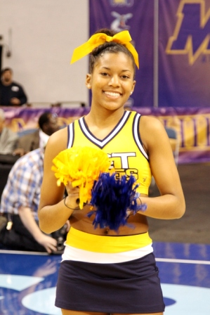 North Carolina A&T cheerleader is ready to cheer the Aggies on at 2013 MEAC Championship game