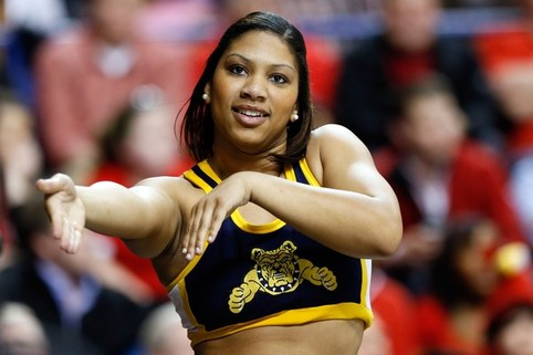 North Carolina A&T cheerleader performs at the 20...