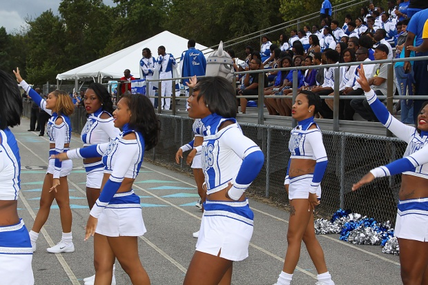 Elizabeth City State University D'lyte cheerleaders at the Down East Vikings Football Classic