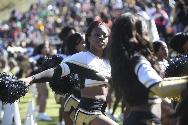 Grambling State Tigers cheerleaders enjoying homecoming