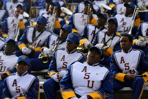 Albany State Rams marching band at the Fountain C...