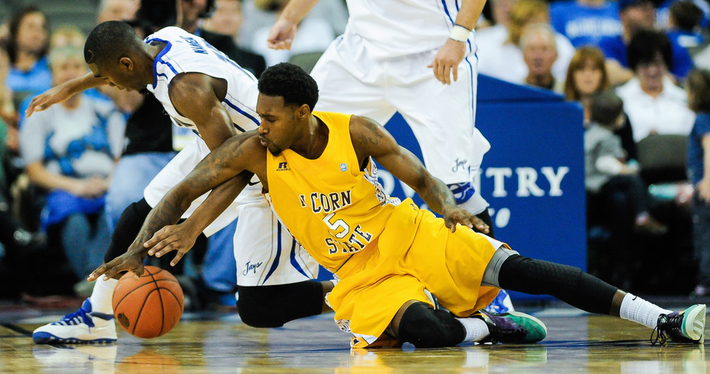 Alcorn State and Creighton battle for the ball
