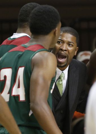 Mississippi Valley State coach Chico Potts shouts...