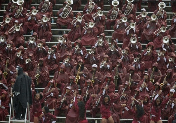 Bethune-Cookman Wildcats marching band performs i...