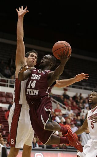 Texas Southern shoots against Stanford players