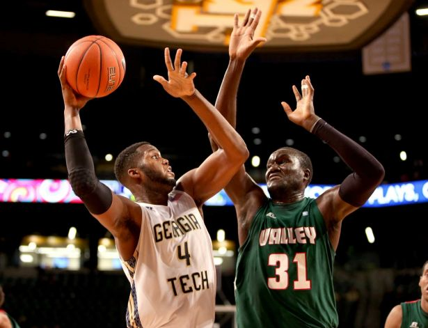 Mississippi Valley State attemps to block a shot ...