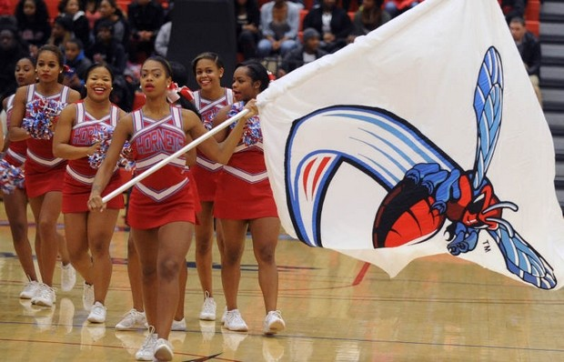 Delaware State University cheerleaders on the cou...