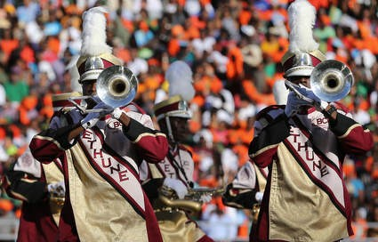 Bethune-Cookman marching band performs at halftim...