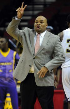 Prairie View A&M head coach Byron Rimm yells inst...