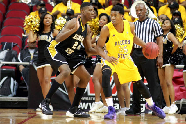 Alcorn State Braves control the ball against Alab...
