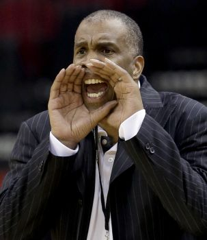 Texas Southern coach Mike Davis yells to his play...
